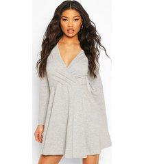 long sleeve wrap front skater dress, grey marl