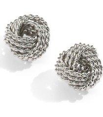 saks fifth avenue women's sterling silver twisted knot stud earrings