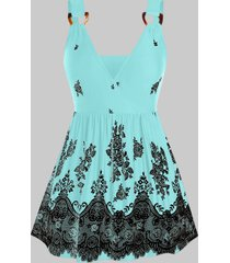 plus size flower print d-ring skirted cami tank top