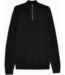 mens black zip turtle neck sweater
