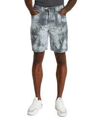 men's river island oversize tie dye denim shorts, size 32 - blue/green