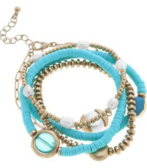 canvas jewelry marlowe set of 5 stacking bracelets in aqua at nordstrom