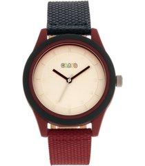 crayo unisex pleasant navy, maroon leatherette strap watch 39mm