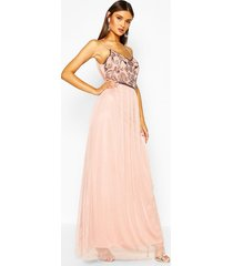 boutique embellished prom maxi dress, nude