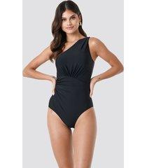 trendyol ruffle detail swimsuit - black
