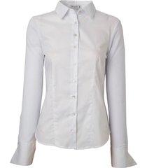 camisa dudalina manga longa costas malha feminina (branco, 34)