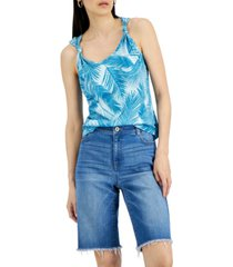 inc cotton printed knotted-strap tank top, created for macy's