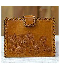 leather passport wallet, 'sunrise flowers' (mexico)