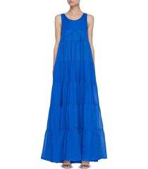 'calypso' sleeveless open back tiered cotton maxi dress