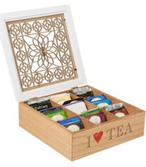 mind reader tea box storage holder with wood floral pattern
