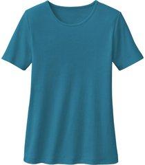 biokatoenen shirt met ronde hals, oceaanblauw 34