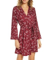 women's masongrey claire classic short robe, size large - burgundy