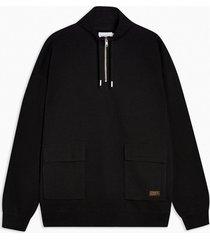 mens black utility 1/4 zip sweatshirt