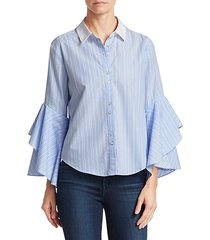 ruffle sleeve button-down shirt