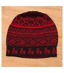 alpaca blend knit hat, 'alpaca parade in red' (peru)