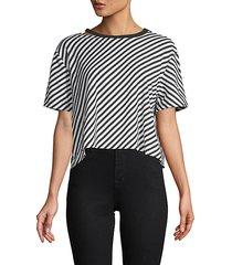 diagonal striped cropped top