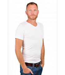 rj bodywear men v-neck t-shirt pure white