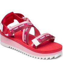 lurex webbing strappy sandal shoes summer shoes flat sandals rosa tommy hilfiger
