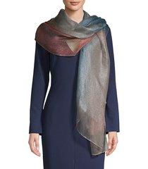 saachi women's metallic ombre silk scarf - blue combo