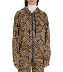 m missoni lurex knit hoodie with allover logo