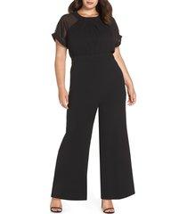 plus size women's vince camuto chiffon sleeve crepe jumpsuit, size 20w - black