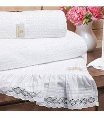 jogo de toalhas (banho e rosto) gigante coleçao grassi branco acetinado 300 fios com 5 peças - ruth sanches