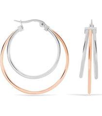 orecchini a cerchio in acciaio bicolore per donna