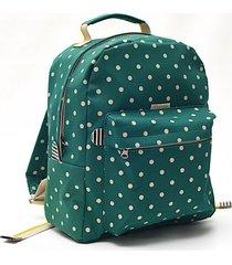 mochila verde matriona lunares