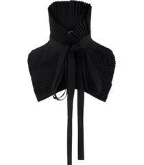 ann demeulemeester pleated tie neck collar - black