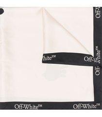 off-white logo-print silk scarf