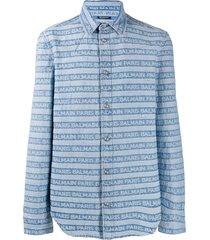 balmain logo striped western denim shirt - blue