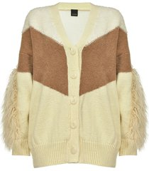pinko paneled v-neck cardigan - neutrals