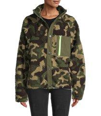 lea & viola women's camo fleece jacket - camo green - size l