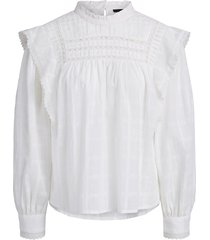 blouse met ruches bella  wit