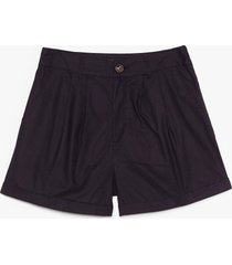 womens linen in to temptation high-waisted shorts - black