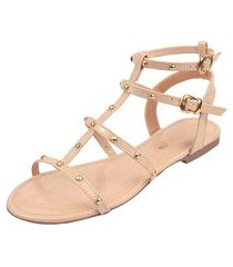 sandália rasteira flat rosa chic calçados tachas gladiadora spike nude