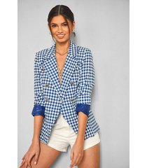 dogtooth tailored blazer, blue