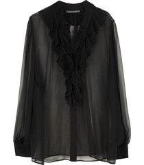 alberta ferretti ruffled silk blouse