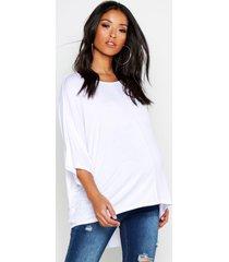maternity dip hem tunic t-shirt, white