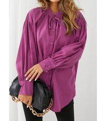 camicetta casual a maniche lunghe con bottoni annodati tinta unita per donna