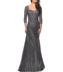 women's la femme ruched sequin trumpet gown, size 18 - grey