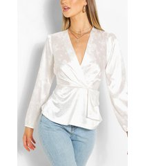 jacquard satin peplum detail blouse, white