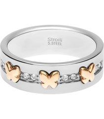 anello in acciaio con farfalle oro rosa e strass per donna