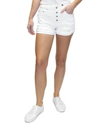 almost famous juniors' high rise ripped cuffed shorts
