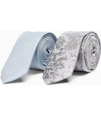 mens light blue ribbed tie and sliver floral jacquard tie multipack