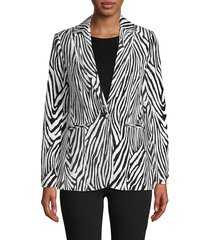 frame denim women's zebra striped cotton-blend blazer - black multi - size 0
