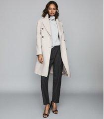 reiss alyx - wool blend double breasted coat in grey melange, womens, size xl