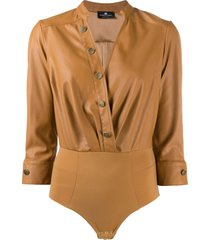 elisabetta franchi faux-leather shirt bodysuit - neutrals