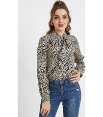 yoins camel bowknot leopard round cuello blusa de manga larga
