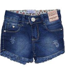 bermuda jeans shorts garota lua   azul